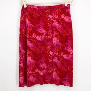 INC International Concepts Red Palm Print Skirt